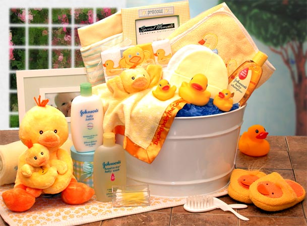 Bath Time Baby New Baby Basket-Yellow