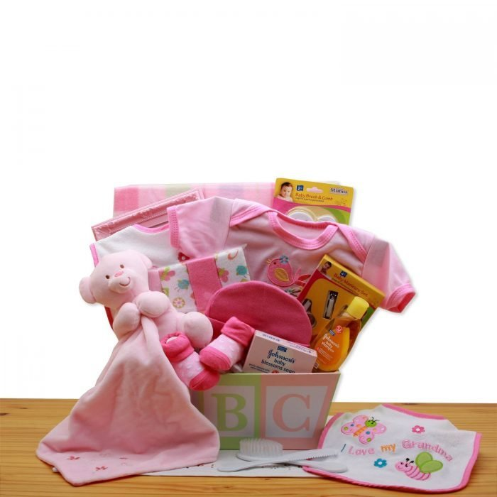 Easy as ABC New Baby Gift Basket - Pink