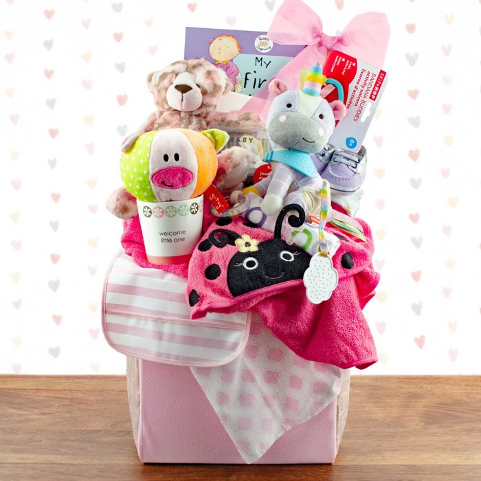 Congratulations: Baby Girl Gift Basket
