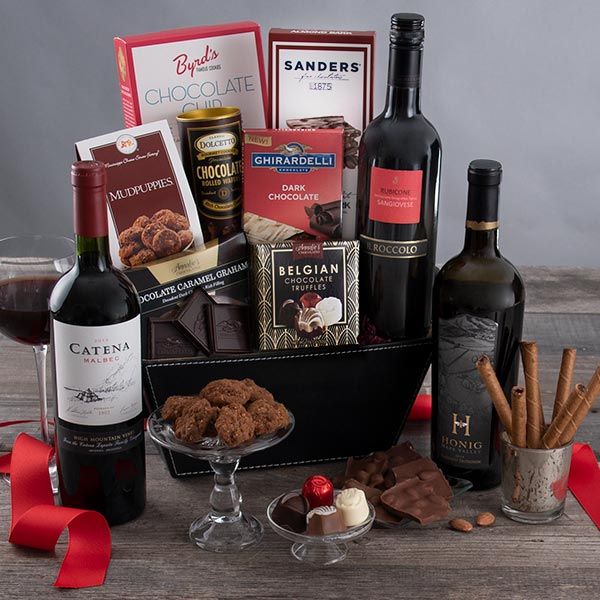 Valentine's Day Wine & Chocolate: Your Choice of Red Wine Gift Basket